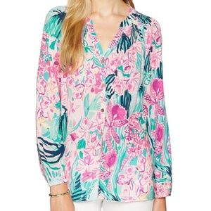 New Lilly Pulitzer Button Front Elsa Floral Top